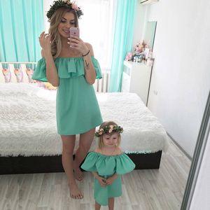 Anne ve Kızı Elbise için Anne Bebek Aile Kıyafetler Kıyafetler Anne ve Bana Giysi Moda Aile Seti Şifon Elbise Anne Çocuk