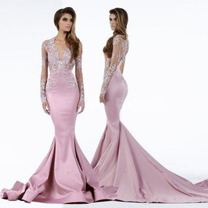 2020 Nova Pageant Dresses Mermaid Sheer V profundo Neck Lace Varrer Train Satin Plus Size mangas compridas Vestidos celebridade Prom Vestidos
