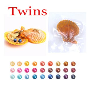2018 FAI DA TE 6-8mm Red shell ostrica akoya con Twins pearl Misto 27 colori Top quality Circle natural pearl in Vacuum Package For Gift Surprise