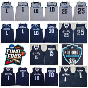 Final Basketball NCAA Quatro Villanova Wildcats Jersey 1 Jalen Brunson 10 Donte DiVincenzo 25 Mikal Pontes Marinho Branco Campeões RVM remendo Homens