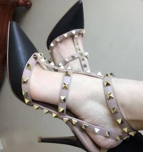 женщины высокий каблук сандалии бренд обувь 34-43 большой насосы черный ню натуральная кожа высокий каблук свадебные туфли включают оригинальный логотип 6 8 10 см