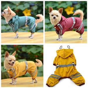 Dog Pet Kleidung wasserdichte Kleidung Leichte Regenmantel Regen Jacke Poncho mit Streifen Reflektierende Außen Haustier Tuch-Mantel-Groß