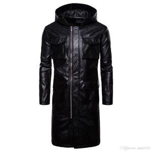 Kapşonlu Kış Erkekler PU Uzun Ceket Siper Siyah Rüzgar Geçirmez Motor Erkekler Uzun Bezelye Ceket Palto Çok Cep Stil Erkek Deri Ceket J180771