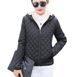 Parkas Temel Ceketler Kadın Kadınlar Kış Artı Kadife Kuzu Kapüşonlu Kısa Pamuk Kış Ceket Bayan Kabanlar Coat