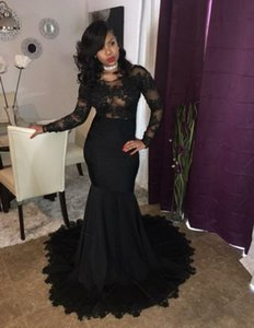 Sexy Mermaid Prom Dresses 2019 Black Lace Beaded Elegant Long Sleeves Party Formal Dresses Long Evening Dresses Gowns