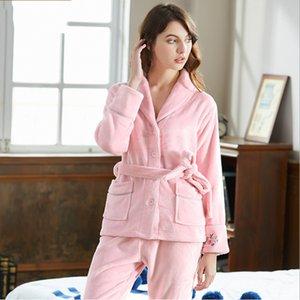 2018 Winter Women Warm lambs Set da pigiama Sweety Sleepwear Suit con cintura Female Turn-down collar Cardigan Coat + Pants