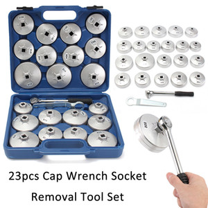 23Pcs Set Oil Filter Cap Wrench Socket Removal Kit Set Aluminum Alloy Ratchet Spanner Cup Type With Portable Storage Case GGA178 5sets