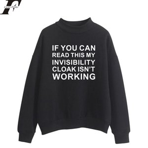 Invisible Cloak Kawaii Oversize Cols roulés Hoodies Sweatshirts Femmes / Hommes Hoodies Loose Casual Letter Sweatshirts