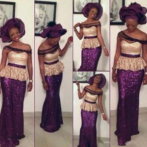 Vestidos de fiesta de coctel formales luz oro y púrpura con lentejuelas vestidos de noche del hombro Negro niña sirena vestidos de baile