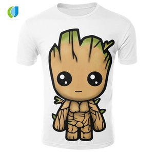 2018 Summer Brand T-Shirt pour hommes Galaxy Guard 2 T-Shirt pour hommes Anime Groot Series manches courtes col rond occasionnel