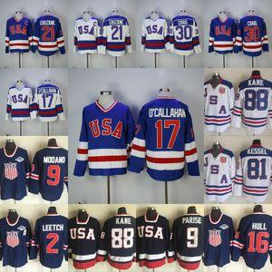 1980 Miracle On Ice Hockey Jersey 17 Jack O'Callahan 21 Mike Eruzione 30 Jim Craig 88 Patrick Kane 9 Zach Parise Mens Hockey Jerseys
