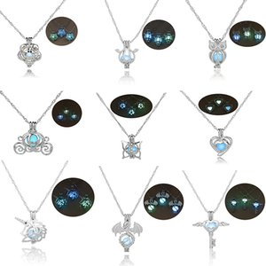 Aydınlık karanlıkta parlayan kolye gümüş kolye uçucu yağlar difüzör lockets zincir moda takı kadın kızlar için drop shipping