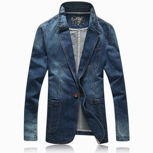 Printemps Automne Haute Qualité Marchandises Coton Mode Pure Color Men Slim Denim Suit Blazers Homme Casual Bleu Denim Jacket