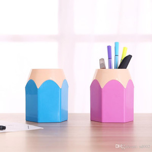 Práctico Colorful Lovely Pencil Stub Multifunción Pen Container Holder Estudiante Papelería Escritorio Recibir Gift Storage Box 1 3 cc