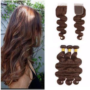 Mittleres Brown-Menschenhaar spinnt mit Spitze-Schließungs-Körper-Wellen-schokoladenbrauner Haar-Erweiterung mit 4x4 Spitze-Verschluss-freiem Teil