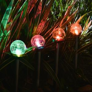 Luces de vía solar Crackle Glass Globe Luces solares Luces de jardín solares de acero inoxidable que cambian de color al aire libre