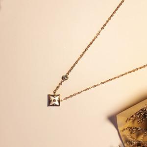2018 mode einfache blume anhänger kette halskette für frauen gold farbe hot fashion gold farbe diamant shell halskette charme