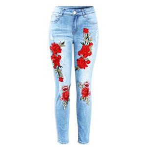 Mode Neu Plus Size Stretchy Ripped Jeans mit Abnutzungsspuren Mitte Taille Stickerei Blumen Vintage Frau Denim Hosen Hosen für Frauen Jeans