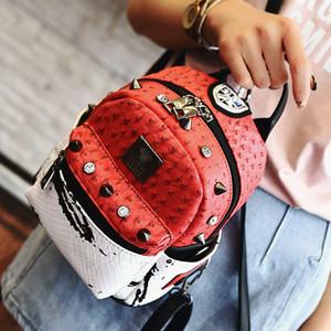 Al por mayor 2016 nuevo verano de avestruz borla mochila bolsa de usos múltiples del color de Corea del Estudiante Mochila remache bolsa de hombro envío libre