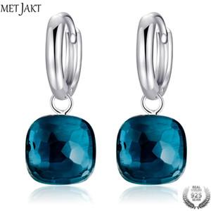 MetJakt Klasik Mavi Topaz Bırak Küpe Katı 925 Gümüş Kolye Küpe kadın Ocns Güzel Takı için