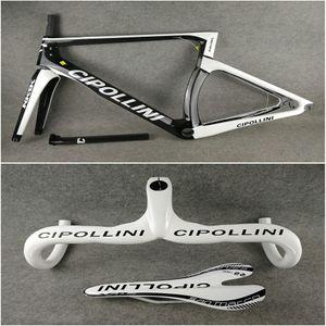 Упакованный для продажи бело-черный дорожный велосипед Cipollini carbon bike Handlebar+седло / сиденье+NK1K carbon road frames T1000 BB30 / BB68 бесплатная доставка