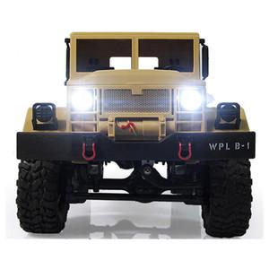 Новый дизайн Wpl B -1 1: 16 Rc Военный грузовик Mini Off в дорожно- Автомобиль Rtr Металл Подвеска Beam / Яркие светодиодные 4Wd Rc Гусеничный подарок для мальчика Дети