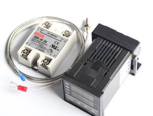 Termostato do controlador de temperatura de Digitas REX-C100 + o relé de Max.40A SSR + ponta de prova do par termoeléctrico de K
