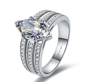 OEM 솔리드 실버 3CT Marquise 링 쥬얼리 웨딩 여성 3Line 밴드 포장 화이트 골드 컬러 합성 다이아몬드 약혼 반지