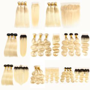 Выравнивание кутикулы 613 Светлые волосы Прямые объемные волны 613 1B / 613 Пучки переплетений Cheveux vierges brésiliens с кружевной застежкой Фронтальные удлинители