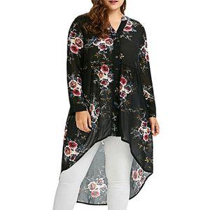 Blusa estampada floral 2018 Plus Size cuello alto de manga larga tipo suelto irregular Camisa de un solo pecho Sep13