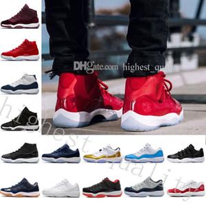 С коробкой + номер «45» 11 с 11 пробок Зажимы Баскетбольная обувь для мужчин Женская верхняя одежда Спортивные атласные спортивные туфли 11s WOMEN US 5.5-13 Eur 36-47