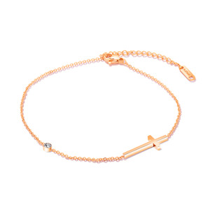 Women Milimalist Crucifix Cross Charm Anklet with CZ Solitaire Stones