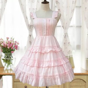 2 Colors Women Sweet Lolita Princess Pink Costume Cotton Sleeveless Layer Low Back Square Collar A-Line Cotton Dress For Girls