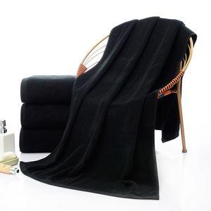 Fabricants en gros 70X140cm, nouvelle serviette noire épaissie pour adultes, serviette de plage, serviette hôtelière noire de thérapie au feu, cadeaux promotionnels