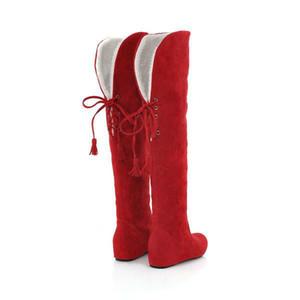 woolen Winter der langen Stiefel der Frauen faux Wildleder Mode über das Knie Schnee Stiefel Höhe zunehmende Frau Schuhe zx147