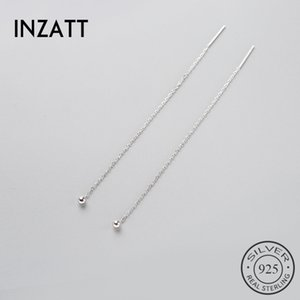 INZAMinimalist 925 Sterling Silver Dangle Drop Earrings Joyería Fina Glossy Bead Long Tassel Cadena de Metal Pendientes 2018 Regalo