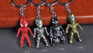 10pcs Hot Movie Avengers Key Chain 3 Batman / Iron Man / Captain America portachiavi Spiderman Lega carattere portachiavi regalo Ciondolo auto
