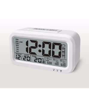 XNCH USB قابلة للشحن ساعة رقمية كبيرة شاشة LCD ضوء استشعار الخلفية السرير الجدول ساعة المنبه غفوة طالب على مدار الساعة