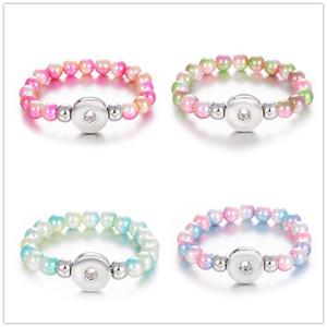 Noosa Snap Button Armband 10mm Nachahmungen von Perlen Perlen 18mm Snap Armband DIY Ingwer Druckknopf Schmuck Sommer Perlen Armband