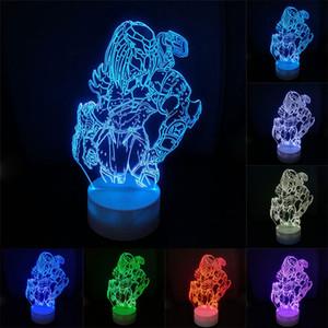 Predator Action Figure 3D Nightlight Visual Illusion LED Alterar Anime Alien Vs. Predator Lobo 3D Iluminação Modelo Toy Figurine