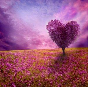Fantezi Arazi Mor Gökyüzü Aşk Kalp şeklinde Ağaç Sevgililer Günü Fotoğraf Arka Planında Lavanta Çiçekler Düğün Fotoğraf Arka Stüdyo