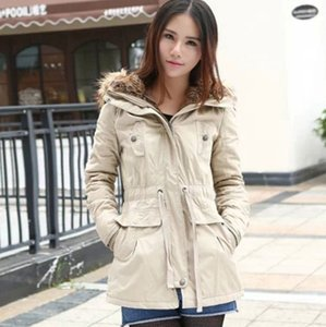 Women's Versatile Militray Anorak Parka jackets with Faux Fur Trim Hood with Drawstring