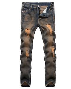 New Street Fashion Pantalones Hombre Ripped Washed Denim Jeans Diseño de cremallera Distressed Skinny Biker Jeans Hip Hop Denim Jeans Plus Size