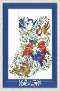 Pássaros de natal para casa decoração pinturas, Handmade Cross Stitch Bordado conjuntos de costura contados impressão sobre tela DMC 14CT / 11CT