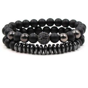 Mens Bracelets Sets teampunk Elastic Bead Bracelet black zircon micro ball Bracelets Set