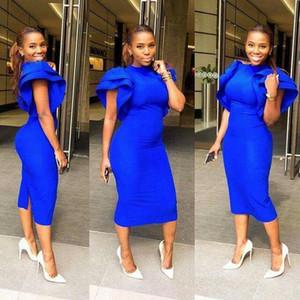 Aso Ebi Stil Gelinlik Modelleri 2019 Kadınlar için Kraliyet Mavi Parti Giymek Backless Abiye Dubai Kaftan Abiye giyim Çay boyu Artı Boyutu