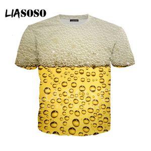 LIASOSO NEW T-Shirts 3D Print Yellow Beer White Foam T shirt Hoodie Sweatshirt Hipster Cosplay Unisex tshirt Casual Tops A118