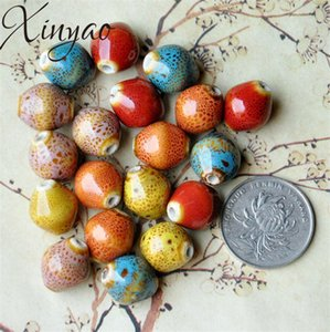 XINYAO 30pcs lot 2.5mm Hole Rhombus Snail Ceramic Beads Handmade Porcelain Beads for Women DIY Bracelets Jewelry Making 15X13mm