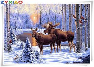 ديي اللوحة الماس الغزلان الثلوج عبر الابره عدة فسيفساء ديكور المنزل هدية حيوان كامل roundsquare الماس 5D التطريز الحكمة لعبة AA0614