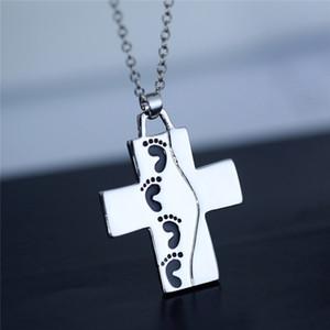 cartas pies Cruz collar de plata Amor colgante collar para hombre de joyería de las mujeres collar de la joyería collares nave de la gota 162593